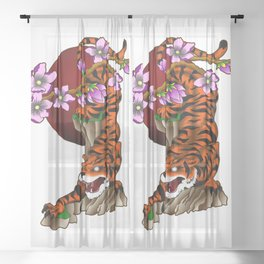 Tiger with cherry blossoms Sheer Curtain