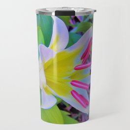 Beautiful White Trumpet Lily with Yellow Center Travel Mug