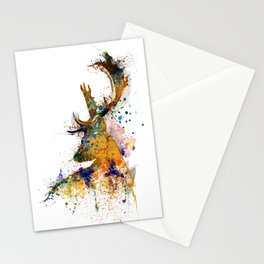 Deer Head Watercolor Silhouette Stationery Cards