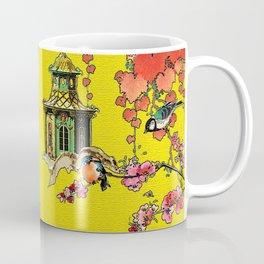Vintage Oriental Peacocks, Peonies, Birds & Pagodas Print Coffee Mug