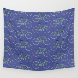 Green bikes on blue Wall Tapestry