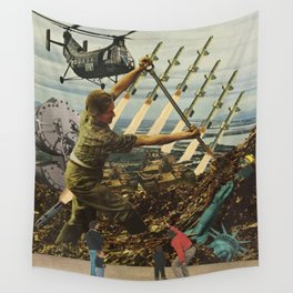 Marriage of Nationalist Security & Capitalist Democracy Wall Tapestry