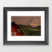 Barn and Mount Hood Framed Art Print