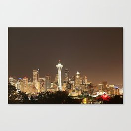 Space Needle in Gold Canvas Print