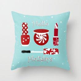 Super Cute Makeup Holiday Design Throw Pillow