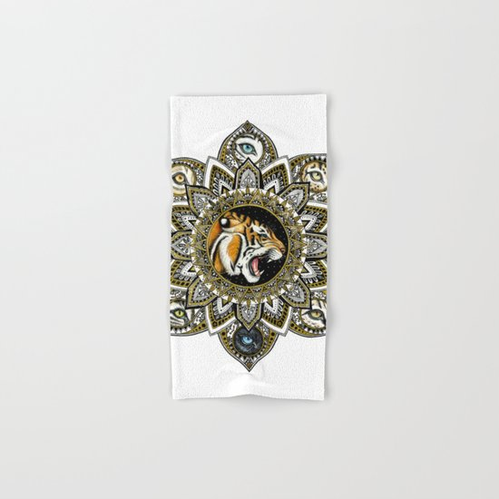 Black and Gold Roaring Tiger Mandala With 8 Cat Eyes Hand & Bath Towel