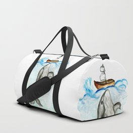 Cute whale and boat watercolor Duffle Bag