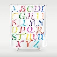 alphabet Shower Curtains featuring Alphabet by Bridget Davidson