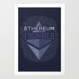 Ethereum Frontier Grunge original on dark blue Art Print