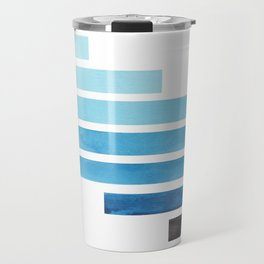 Cerulean Blue Midcentury Modern Minimalist Staggered Stripes Rectangle Geometric Aztec Pattern Water Travel Mug