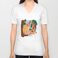 pablo picasso V-neck T-shirts featuring Picasso by John Sailor