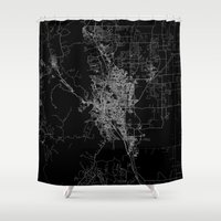 colorado Shower Curtains featuring Colorado Springs map Colorado by Line Line Lines