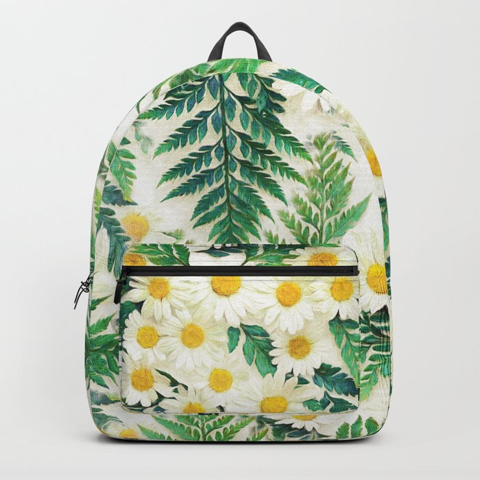 Textured Vintage Daisy and Fern Pattern  Backpack