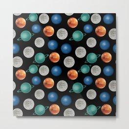 Lots of planets seamless 3d digital pattern  Metal Print