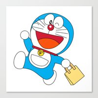 doraemon Canvas Prints featuring Doraemon Bring Tote Bags by Timeless-Id