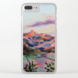 Tucson Sunset by the Catalina foot hills - Thimble peak Clear iPhone Case