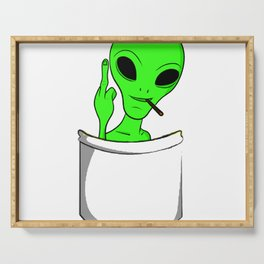 Alien in a pocket smoking weed / blunt Serving Tray