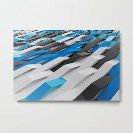 White, black and blue plastic waves Metal Print