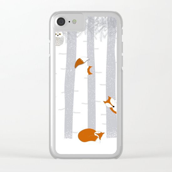Playing in the snow Clear iPhone Case