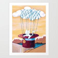 The cat traveling in dreams Art Print