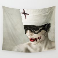 cross Wall Tapestries featuring cross by Miklos