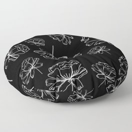Hand Drawn Peonies Black Floor Pillow