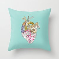 ellie goulding Throw Pillows featuring my heart is real by Bianca Green