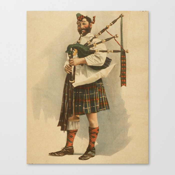 Vintage Illustration of a Scottish Bagpiper (1898) Canvas Print