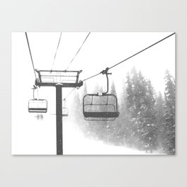 Chairlift Abyss // Black and White Chair Lift Ride to the Top Colorado Mountain Artwork Canvas Print