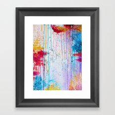 HAPPY TEARS Bright Cheerful Abstract Acrylic Painting, Drip Splat Bold Pink Red Purple Spring Art Framed Art Print