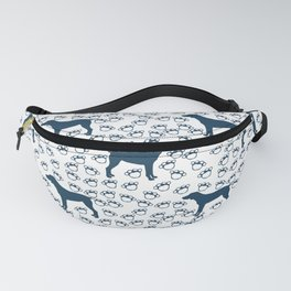 Big Blue Dog and Paw Prints Fanny Pack