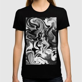 Fluid Black and White Marbleized Ink  T-shirt