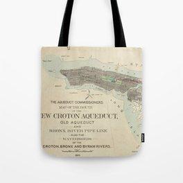 Vintage Map of NYC & The Croton Aqueduct (1899) Tote Bag