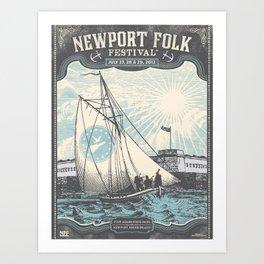 Vintage 2012 Newport, Rhode Island Folk Festival Lithograph Poster Art Print