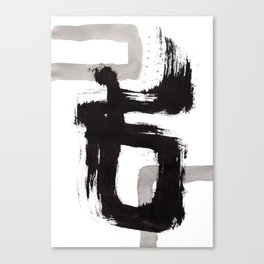 Live Your Color no.90 - black and white abstract painting brushstroke modern brush art Canvas Print