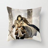 warrior Throw Pillows featuring Warrior by Pauliina Hannuniemi
