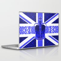 british flag Laptop & iPad Skins featuring Royal Blue - British Flag & Crown by Ornaart