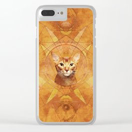 Abyssinian Cat Sacred Geometry Digital Art Clear iPhone Case