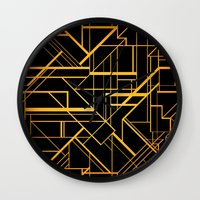 the great gatsby Wall Clocks featuring Great Gatsby Style Pattern by Varvara Gorbash