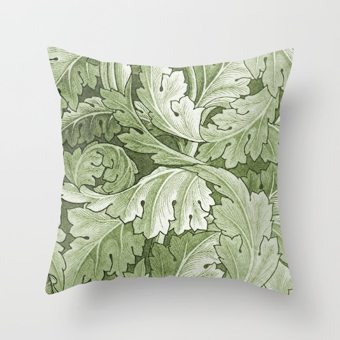 Celery Green Acanthus Plant Throw Pillow