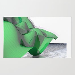 Waving Math Surface Green Rug