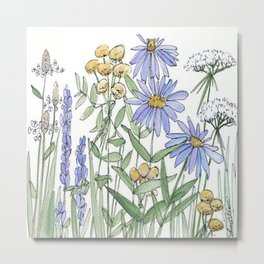 Asters and Wild Flowers Botanical Nature Floral Metal Print