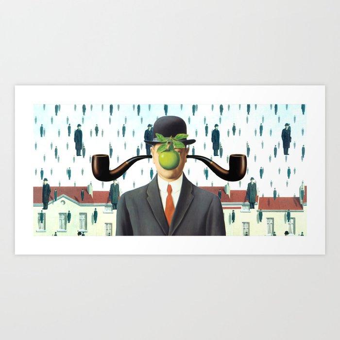 Ear Smoking Apple Guy Standing in the Man Rain Art Print by gx9designs