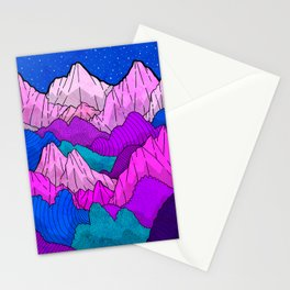 The night time hills Stationery Cards