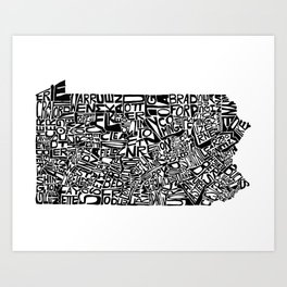 Typographic Pennsylvania Art Print