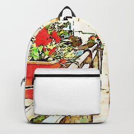 Fognano: road with flowerpot Backpack
