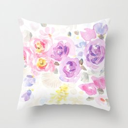 Summer Perfume Floral Flowers-Watercolor Throw Pillow