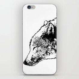 Timber wolf, black ink. iPhone Skin