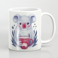 australia Mugs featuring I♥Australia by Lime