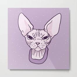 Lilac Point Seal Grumply Wrinkly Sphynx Kitty - Hairless Cat Illustration - Bad Cattitude - Line Tattoo Art Metal Print